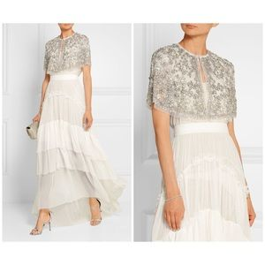 NEEDLE & THREAD Bridal embellished tulle cape S